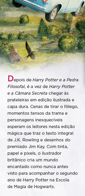 Depois de Harry Potter e a Pedra Filosofal, é a vez de Harry Potter e a Câmara Secreta chegar às prateleiras em edição ilustrada e capa dura. Cenas de tirar o fôlego, momentos tensos da trama e personagens inesquecíveis esperam os leitores nesta edição mágica que traz o texto integral de J.K. Rowling e desenhos do premiado Jim Kay. Com tinta, papel e pixels, o ilustrador britânico cria um mundo encantado como nunca antes visto para acompanhar o segundo ano de Harry Potter na Escola de Magia de Hogwarts.