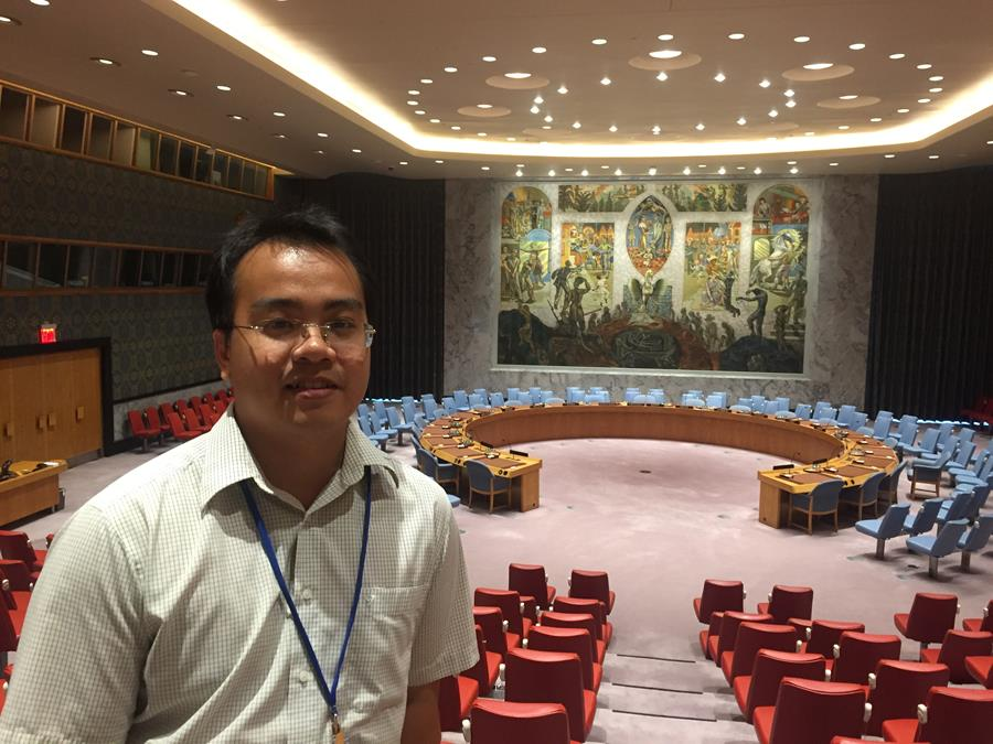 Thien Phuoc Quang Tran volunteers at MCC's United Nations office.