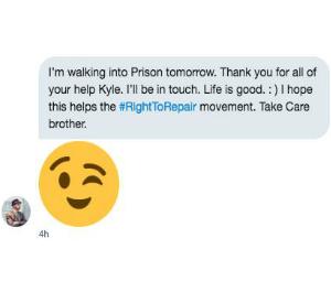 Eric Lundgren texts iFixit CEO about his prison sentence
