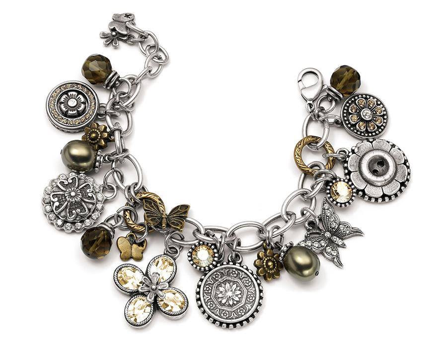 Golden Shadow Garden Party Charm Bracelet (B951)