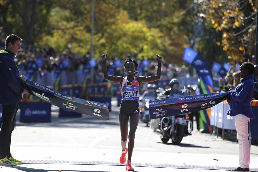 Keitany finished in 2:24:26.