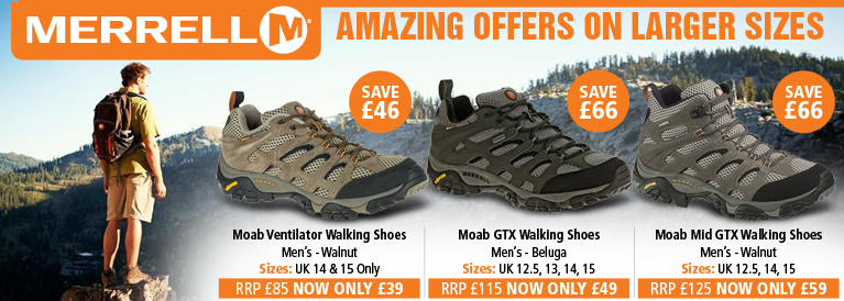 Merrell Amazing Offer on Larger Sizes - Moab GTX, Moab Mid GTX and Moab Vent height=250